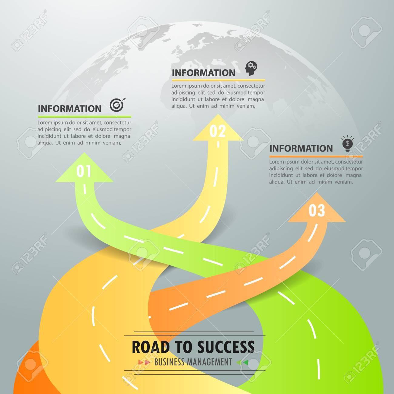 road way infographic template 3 options can be used for workflow layout diagram
