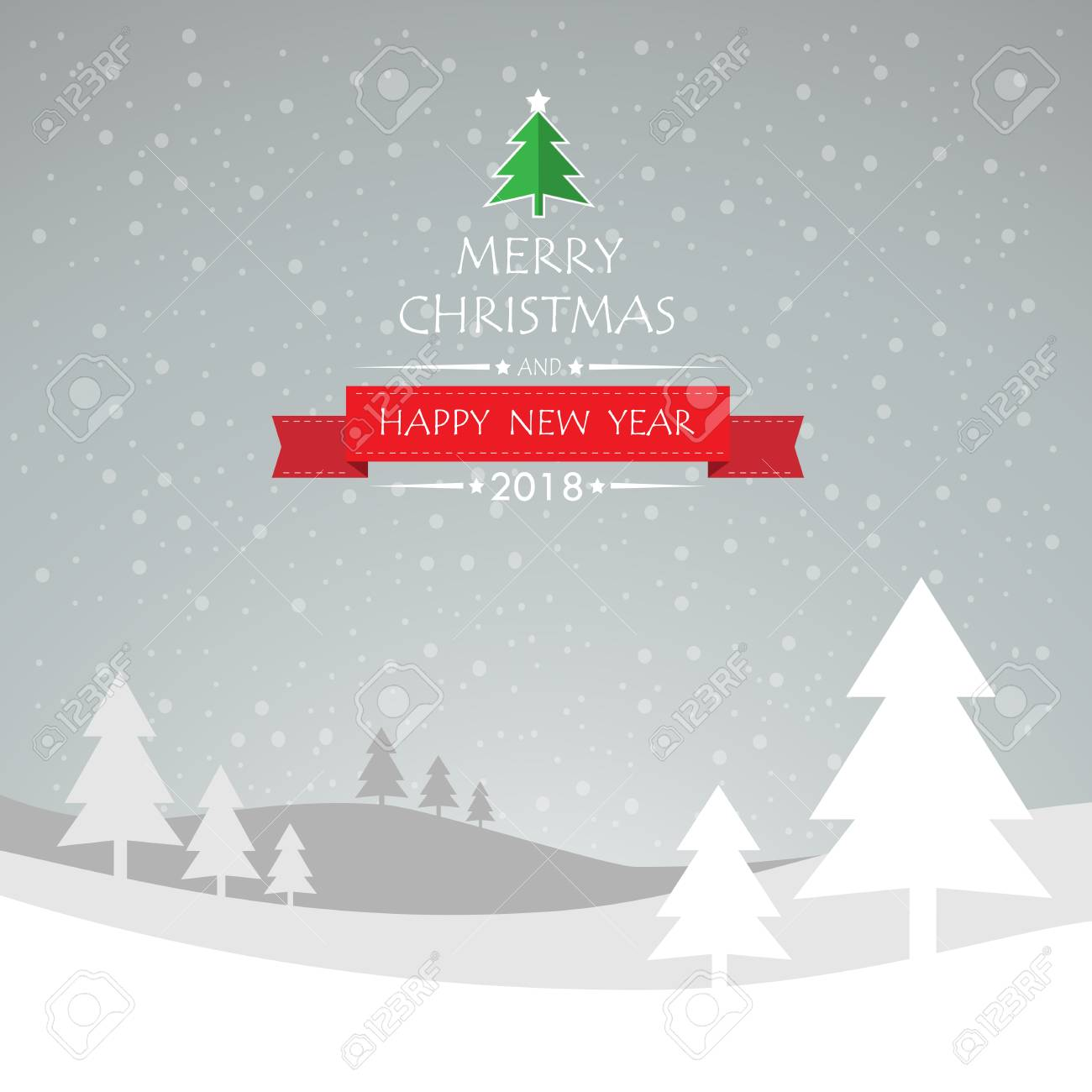 Design Christmas Greeting Card And Happy New Year Message Vector