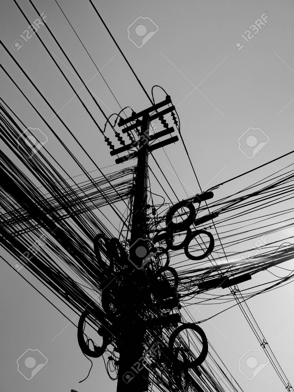 Electric Wire Thailand Mono Color Confuse Stock Photo, Picture And ...
