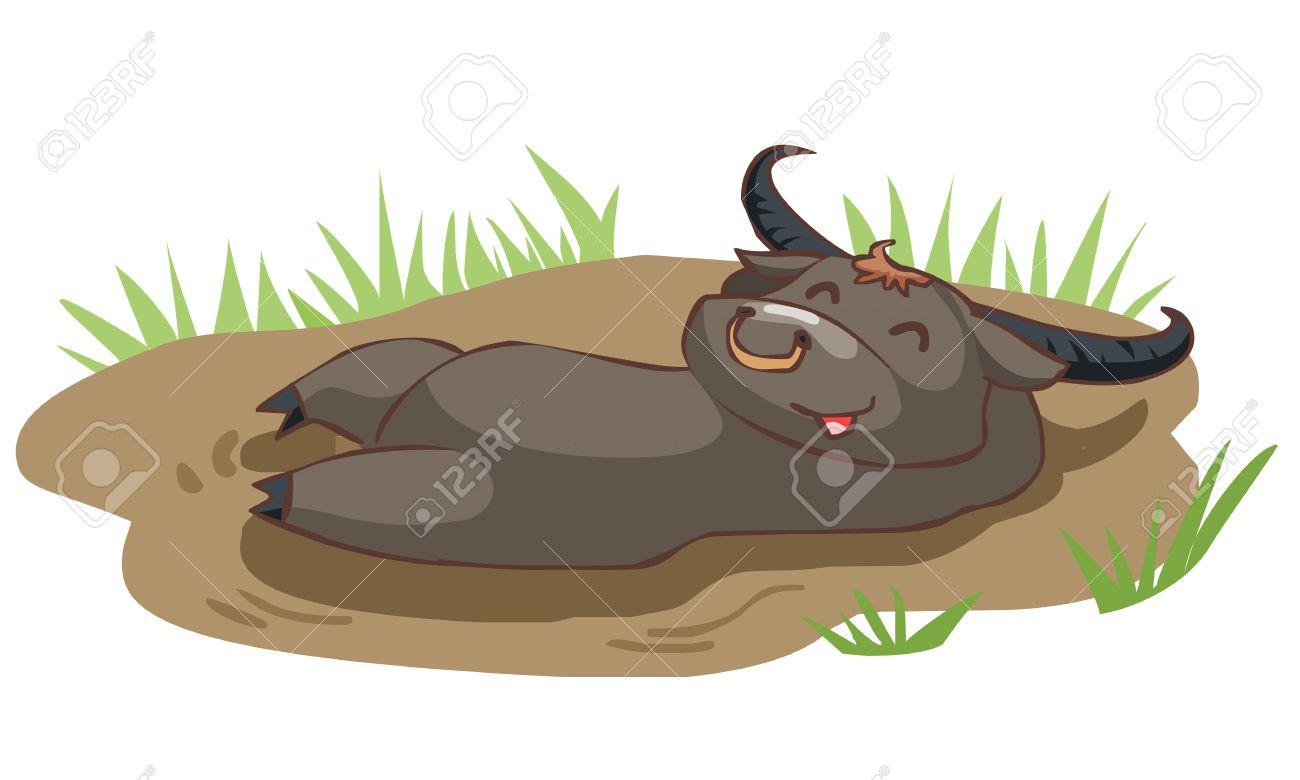 archivio fotografico felice bufala fare un bagno nel fango illustrazione vettoriale