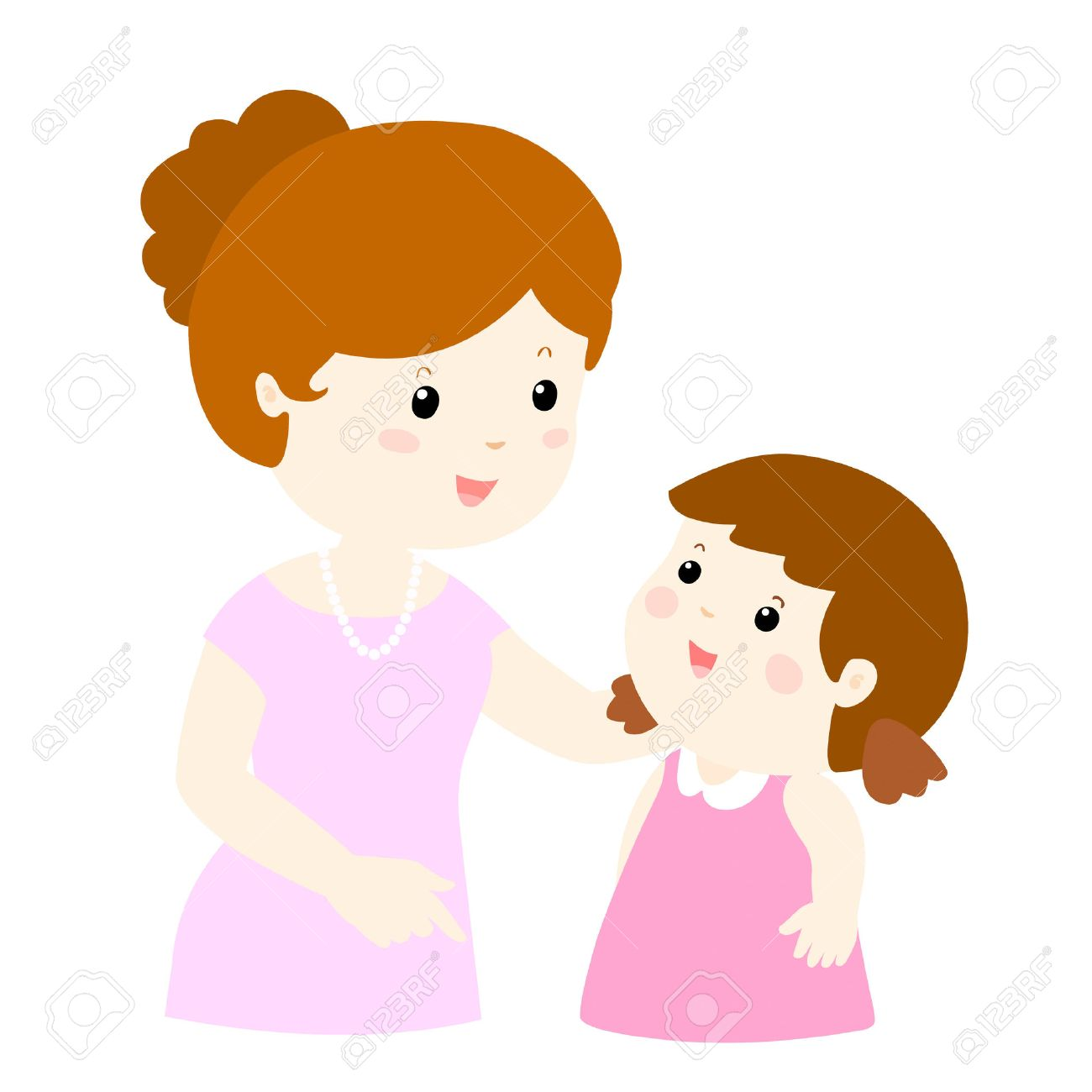 mom talk to her daughter gently vector illustration royalty free rh 123rf com mom and daughter clipart images mother and daughter cooking clipart