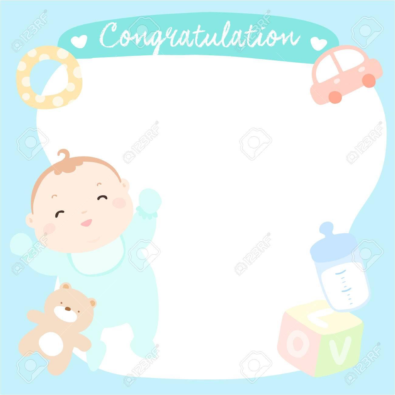 Cute Baby Boy On Empty Greeting Card Vector Illustration Royalty