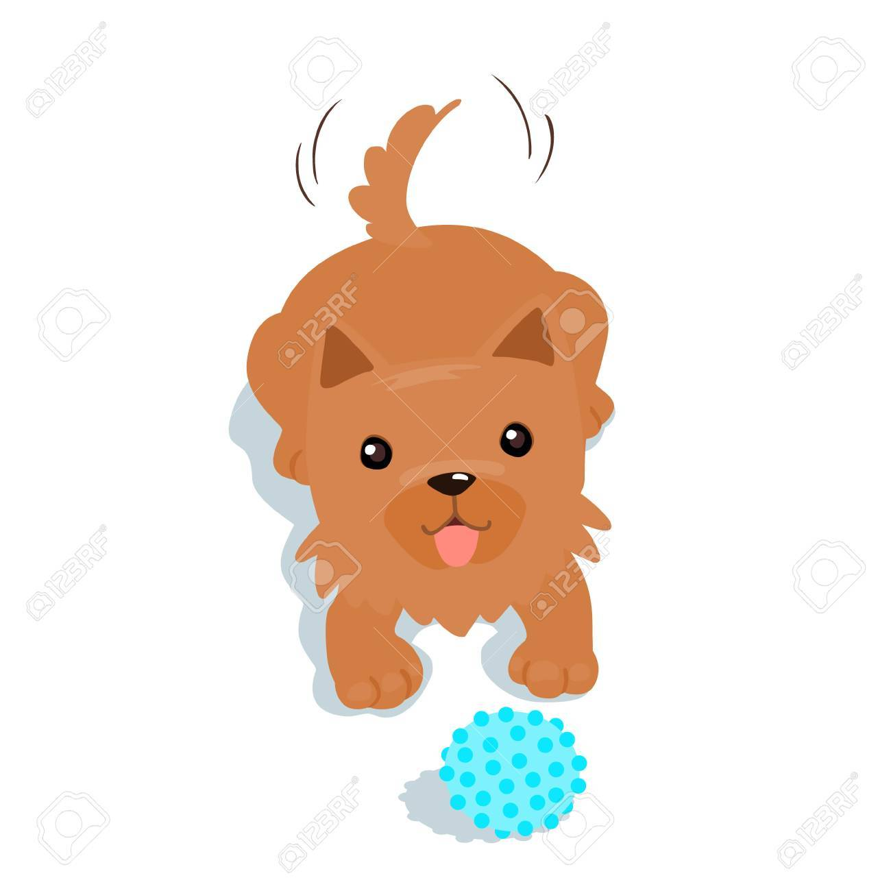 Happy Yorkshire Terrier Dog Want To Play A Ball Illustration Royalty