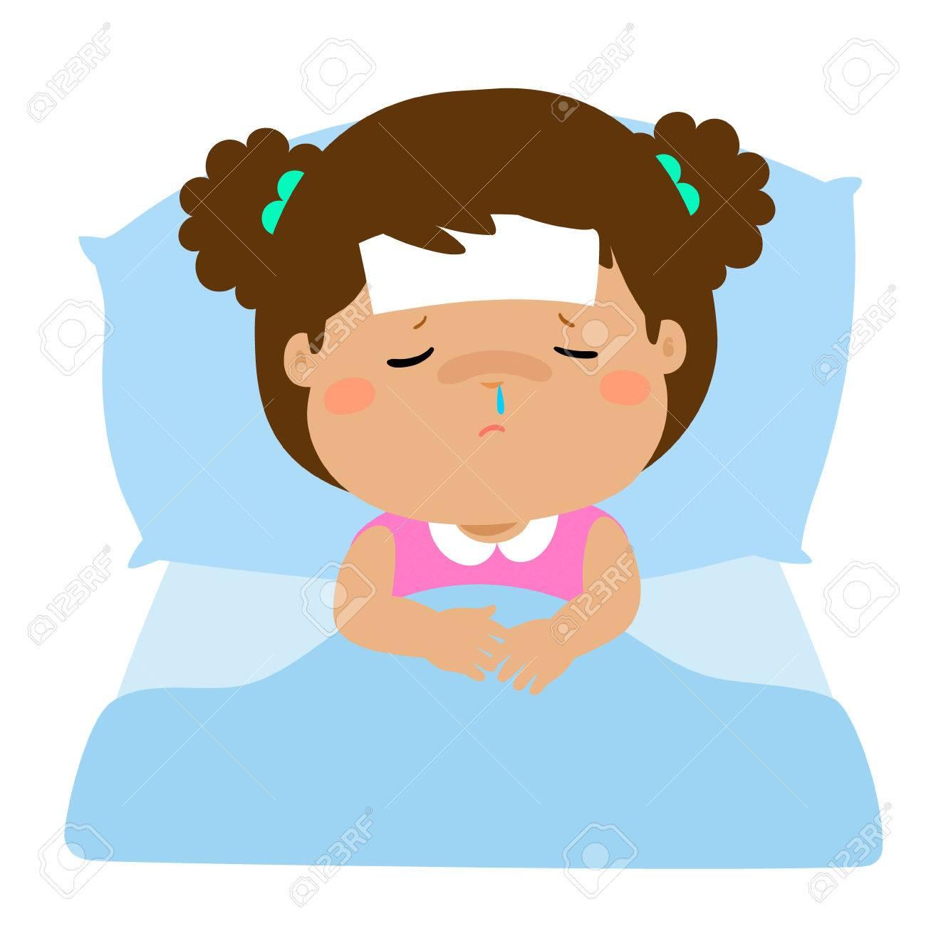 Kleine Kranke Madchen Schlafen Im Bett Vektor Illustration