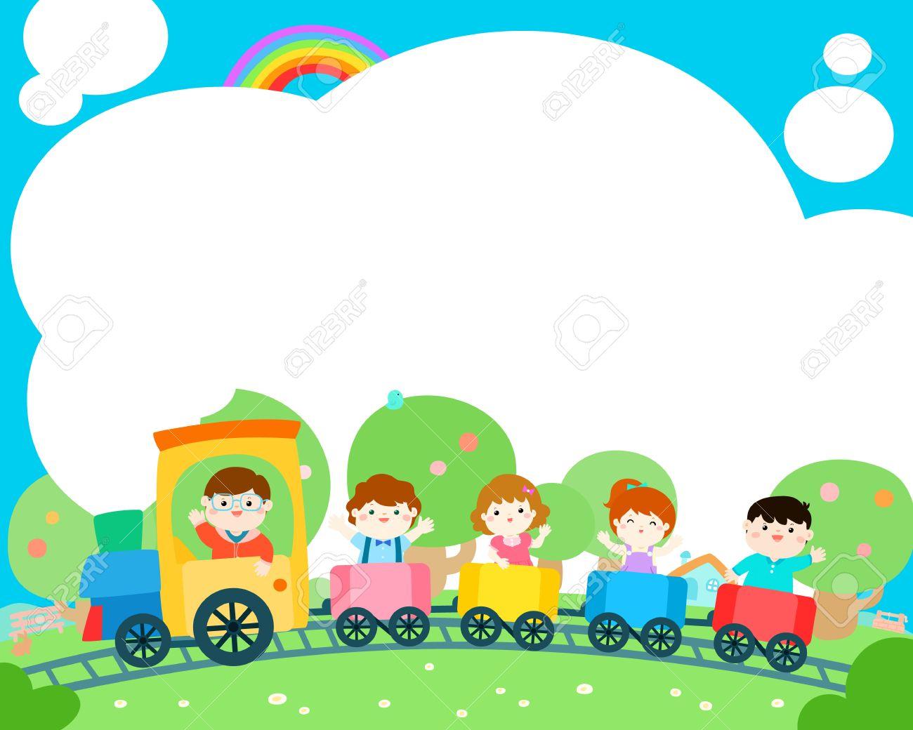 Glückliche Kinder Im Zug, Bunter Vektor. Bereit Für Ihre Nachricht ...