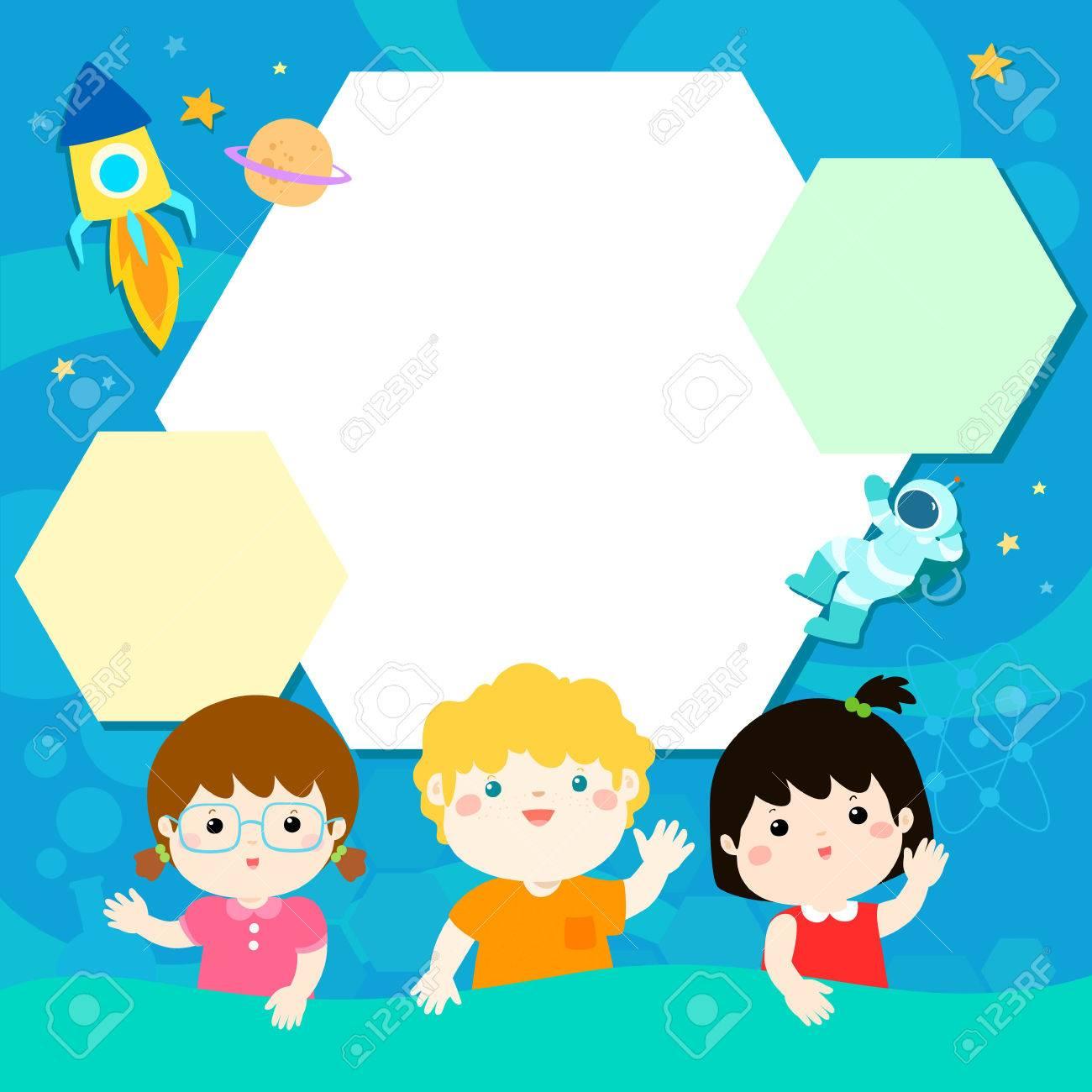 Niños Felices En La Ilustración Del Universo Plantilla De Vectores ...
