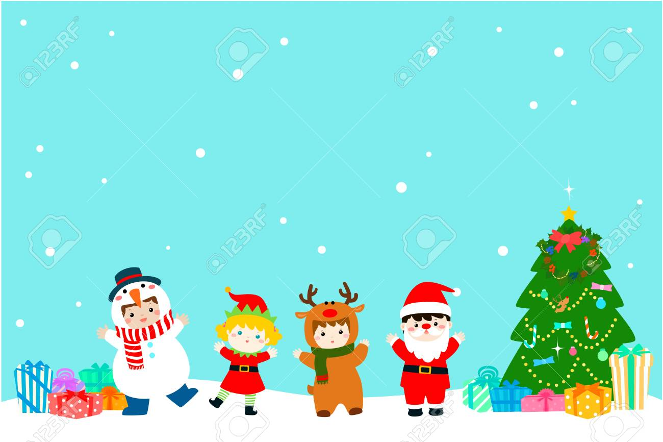Colorful Christmas Background For Kids.Joyful Kids With Christmas Costumes Background Vector Colorful