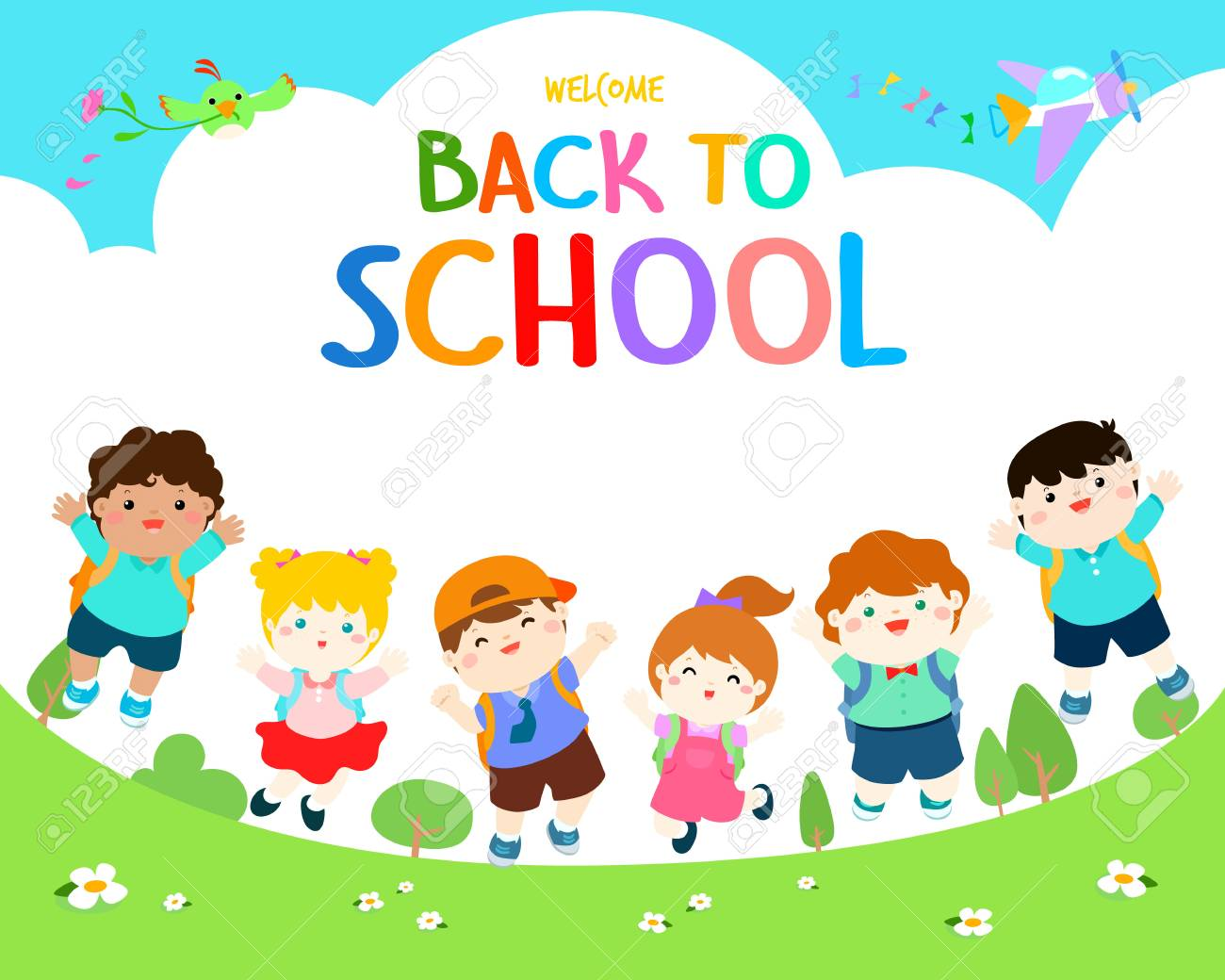 Welcome Back To School Vector Illustration Cute Multiracial Children Royalty Free Cliparts Vectors And Stock Illustration Image 92346209