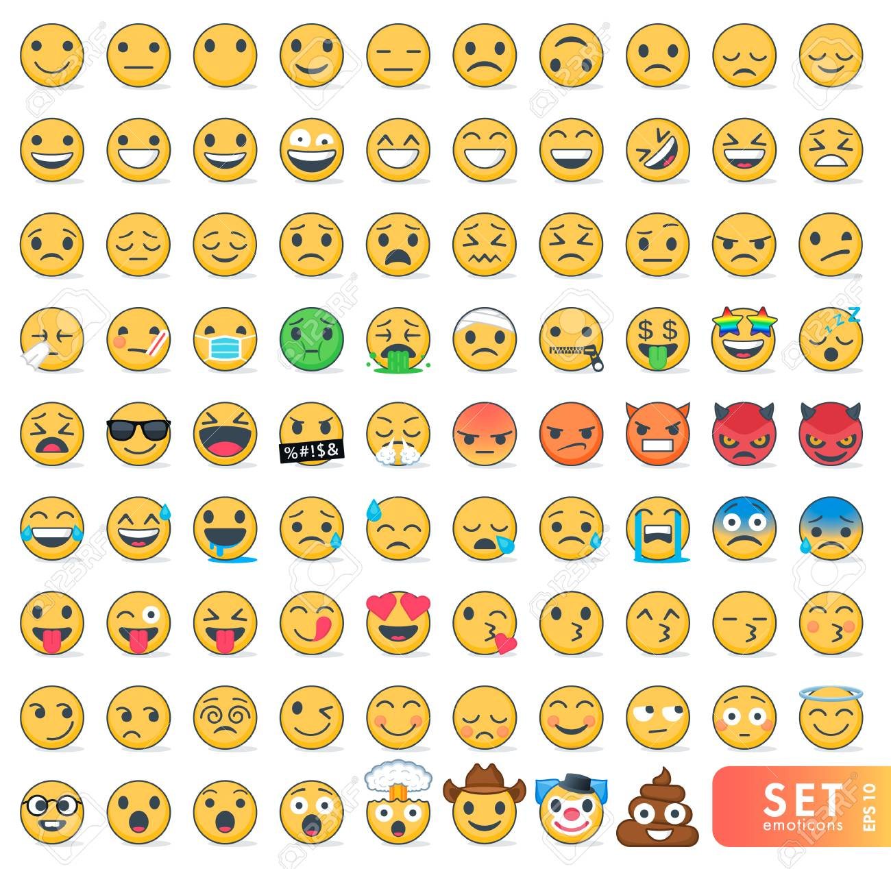 Big set of emoticons with different emotions - 96716072