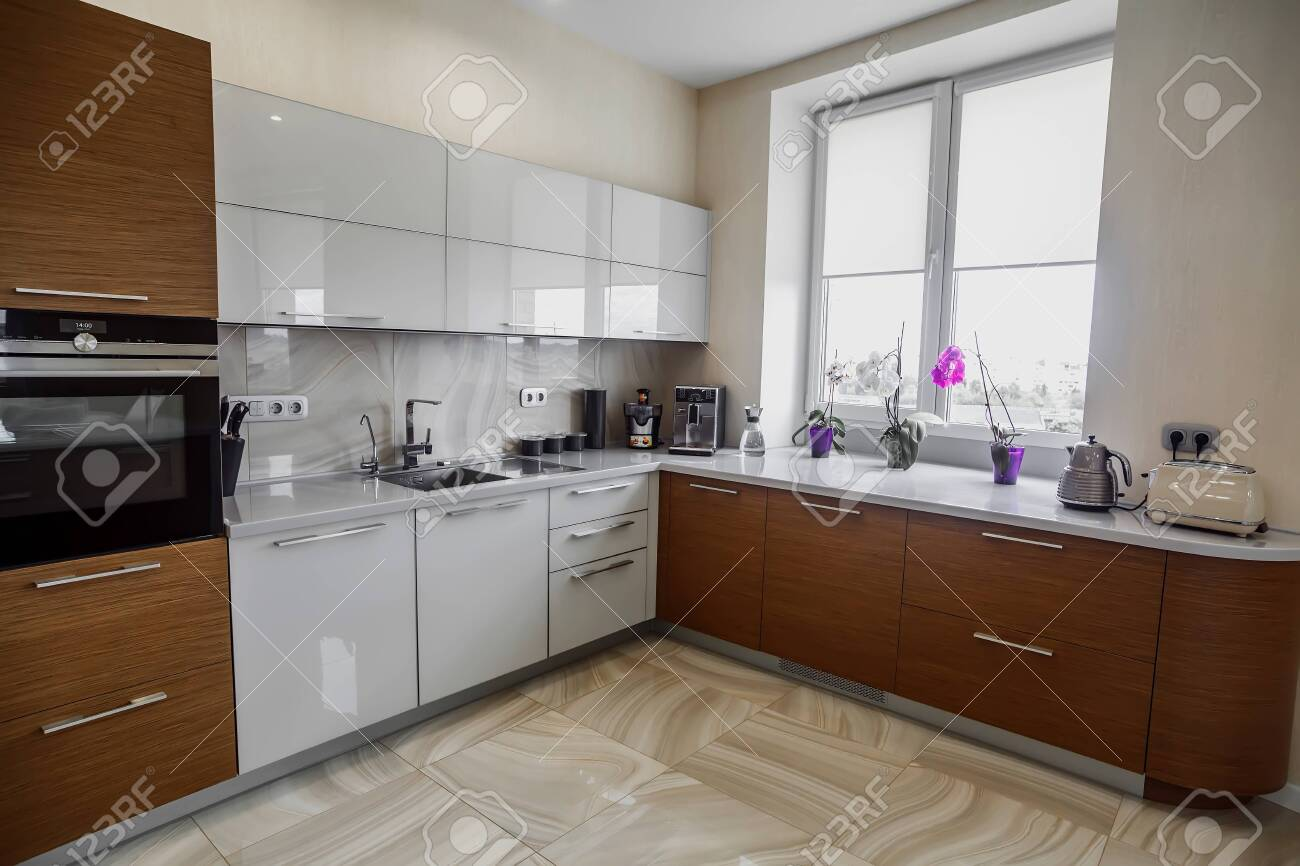 View Of Luxury Expensive Modern Fitted Kitchen With Stainless Stock Photo Picture And Royalty Free Image Image 142150605