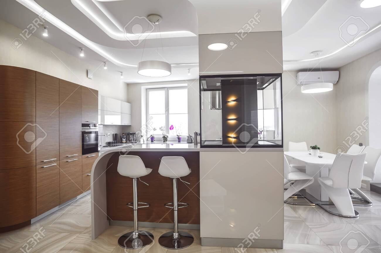 View Of Luxury Expensive Modern Fitted Kitchen With Stainless Steel Appliances Design Of The Kitchen Room Lizenzfreie Fotos Bilder Und Stock Fotografie Image 142150620