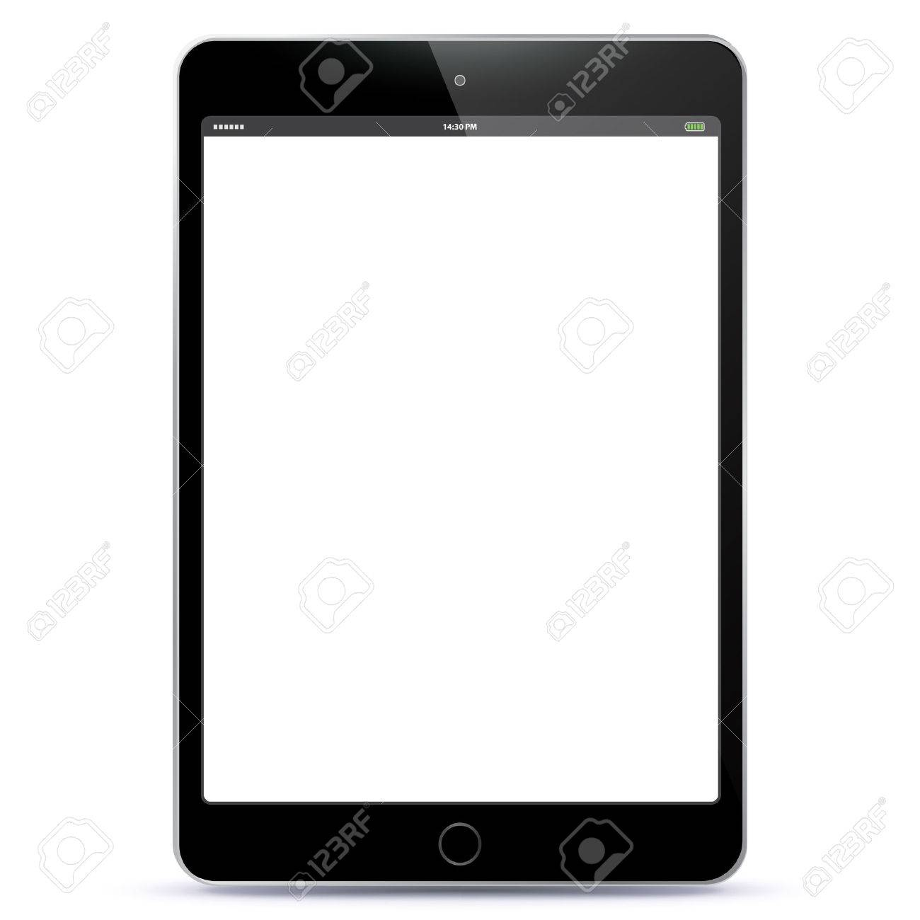 Vector illustration Tablet PC with blank black screen. - 45723177