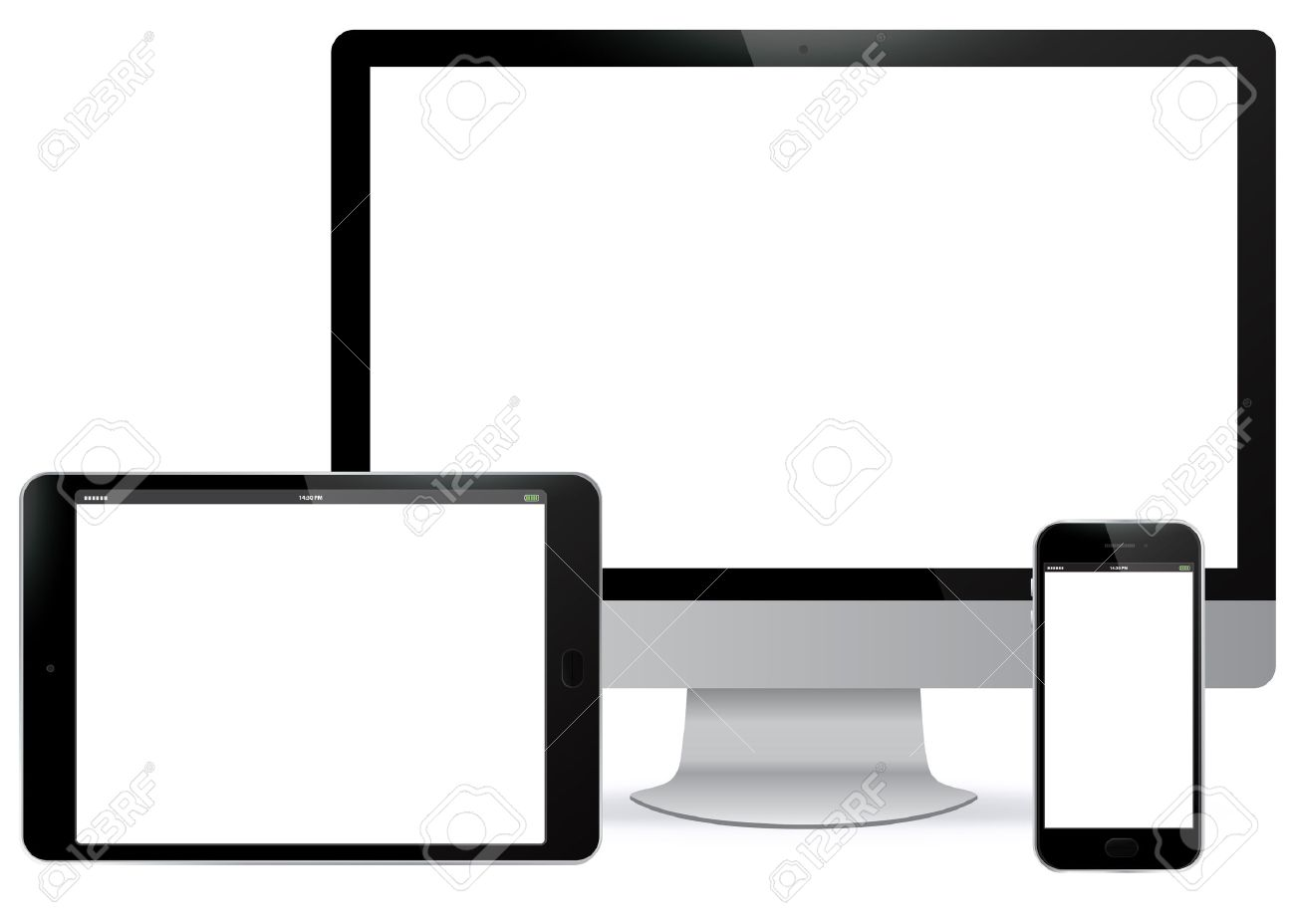 tablet clipart black and white. computer screen, tablet pc, mobile phone vector illustration. stock - 47210863 clipart black and white