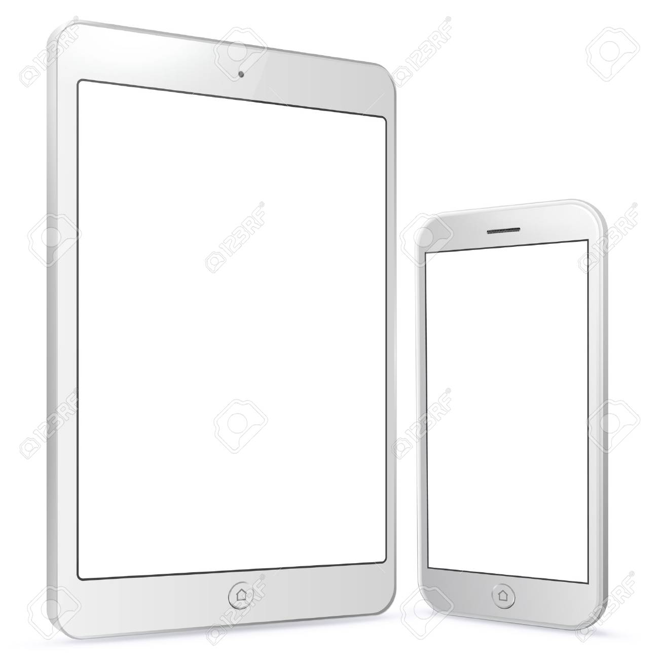 White Tablet Computer and Mobile Phone vector illustration. - 72096905