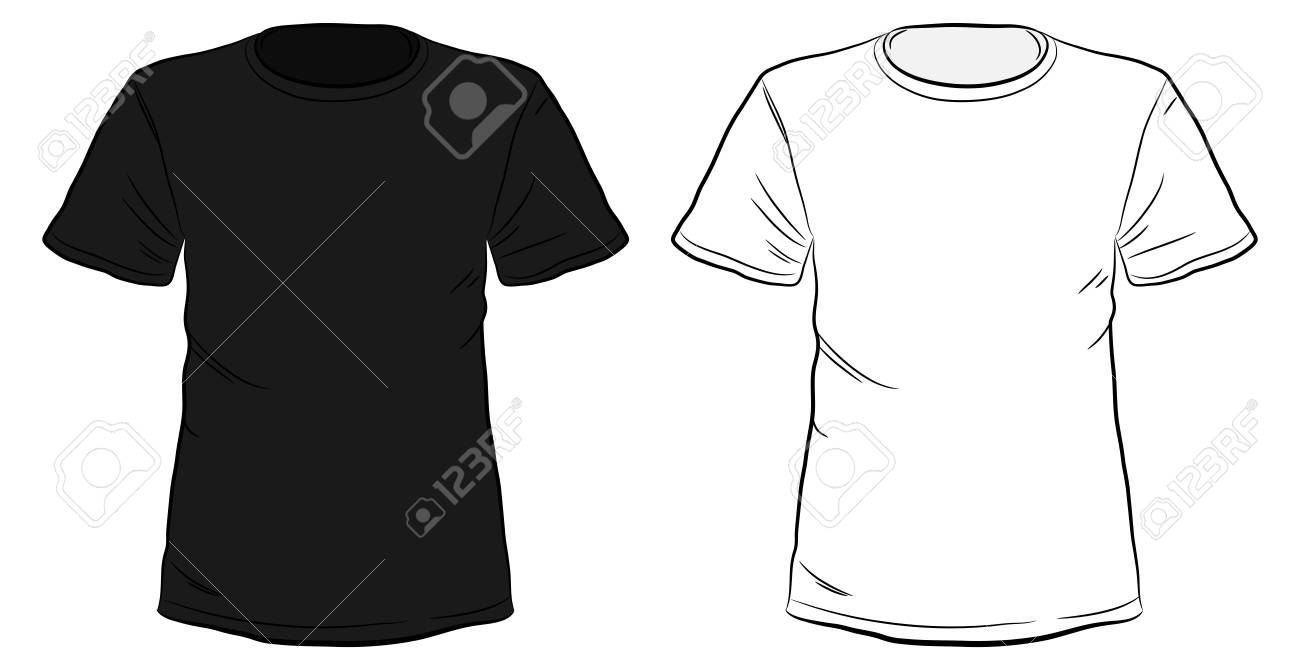 Black and White Hand Drawn T-shirts vector illustration isolated on white background. - 84295991