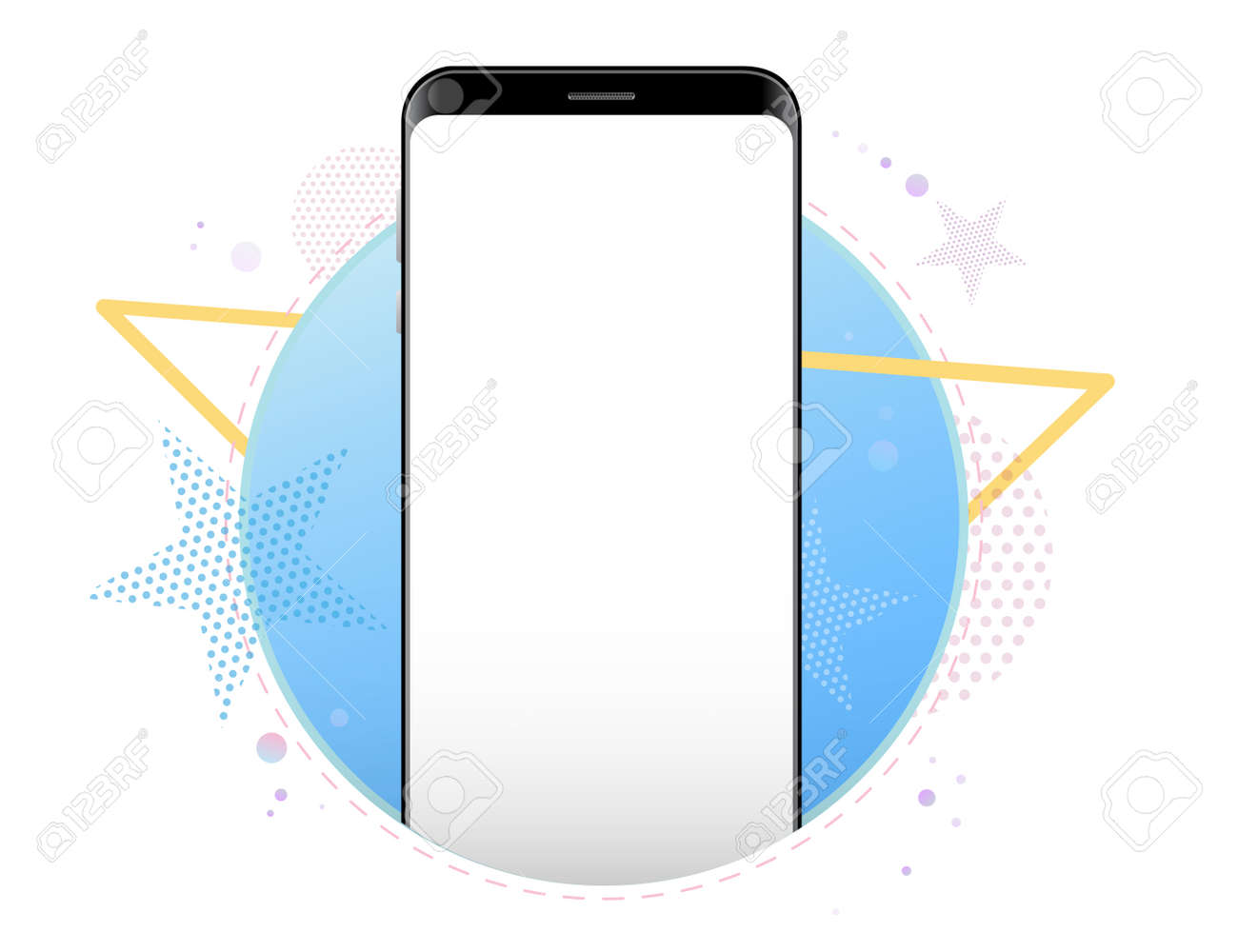 Mobile Phone Vector Mockup With Geometric Abstract Background. Frameless Black Smartphone Front View. - 153957465
