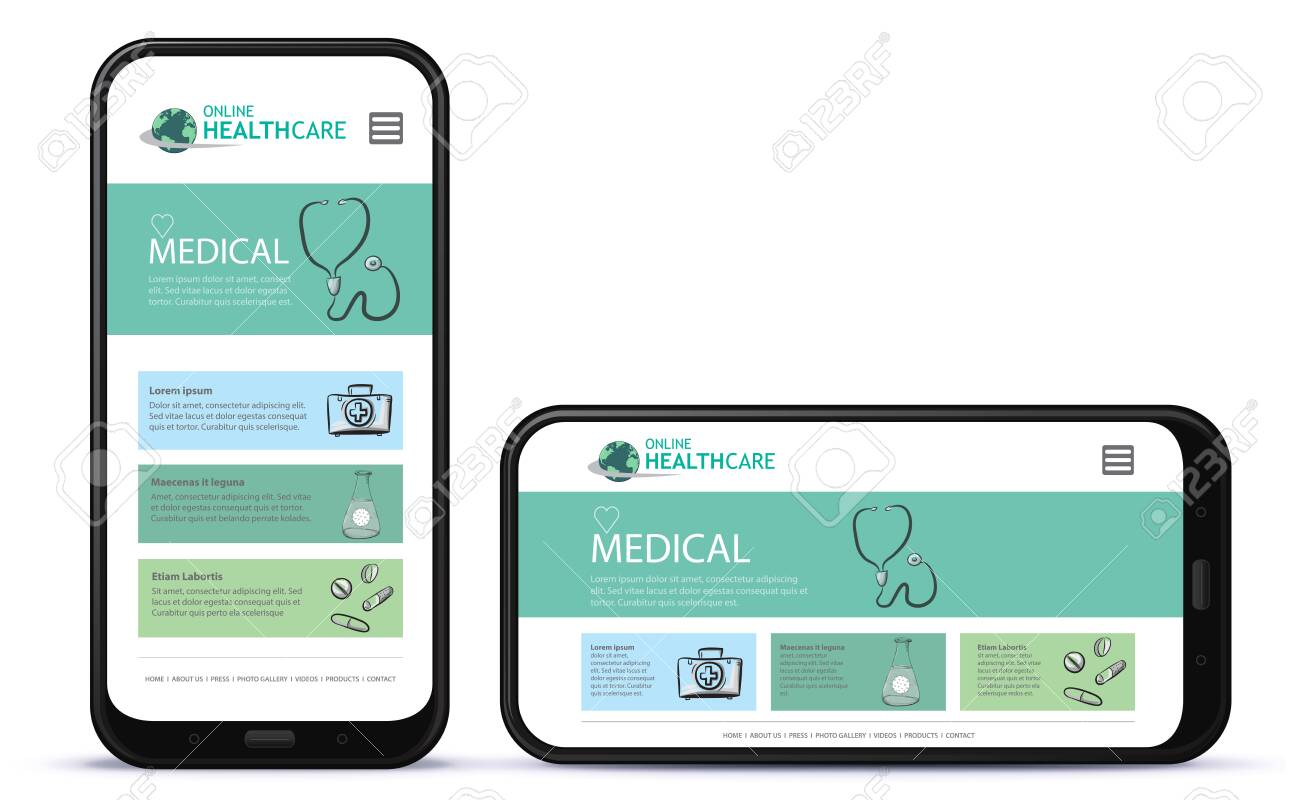 Healthcare and Medical App User Interface Design for Mobile Phones. Horizontal and Vertical Positions. - 153954459