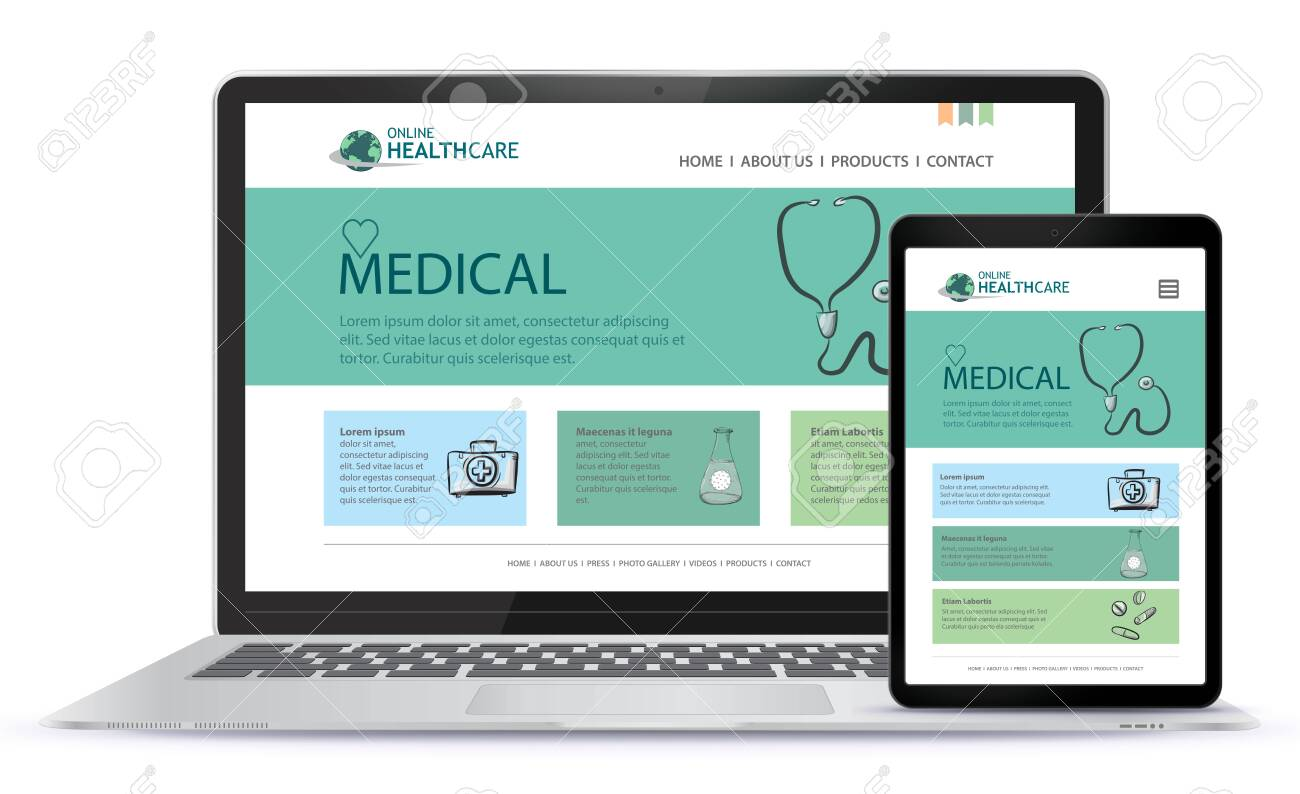 Healthcare and Medical User Interface Design for Web Site and Mobile App. Laptop and Tablet Computer Vector Illustration. - 154022555