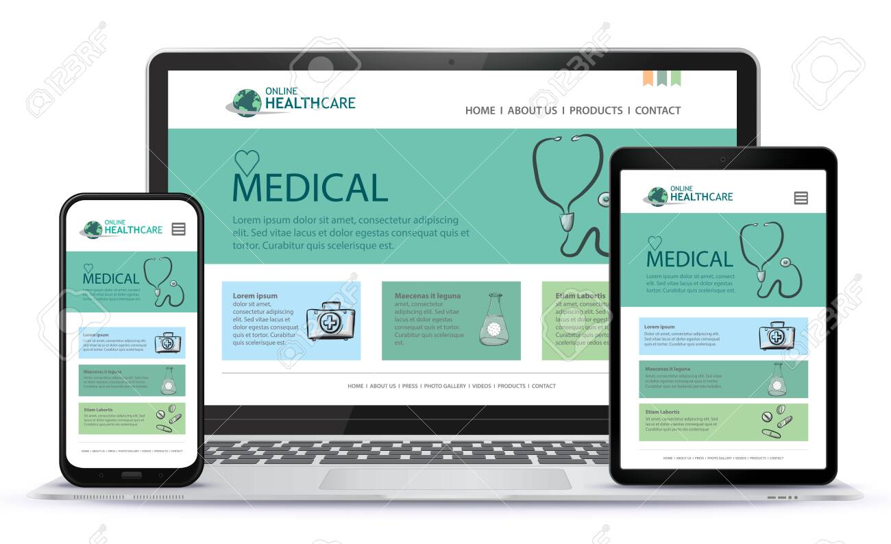 Healthcare and Medical User Interface Design for Web Site and Mobile App. Laptop, Tablet PC and Mobile Phone Vector Illustration. - 154165659