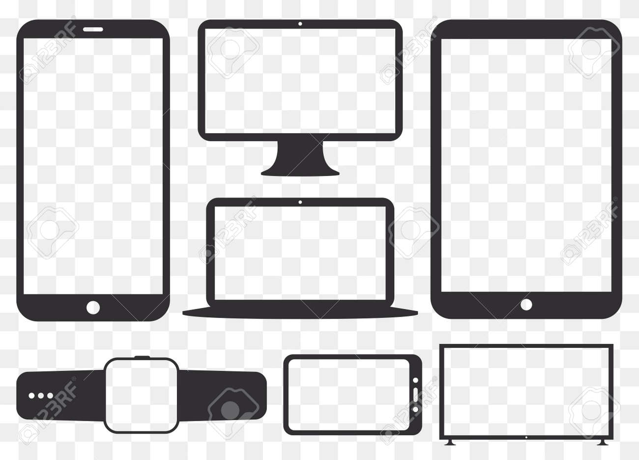 Mobile Phone, Tablet PC, Computer Monitor, Laptop Screen and Smart Watch Silhouette Vector Icon Set. Transparent and Flat Icons for Digital Devices. - 156142996