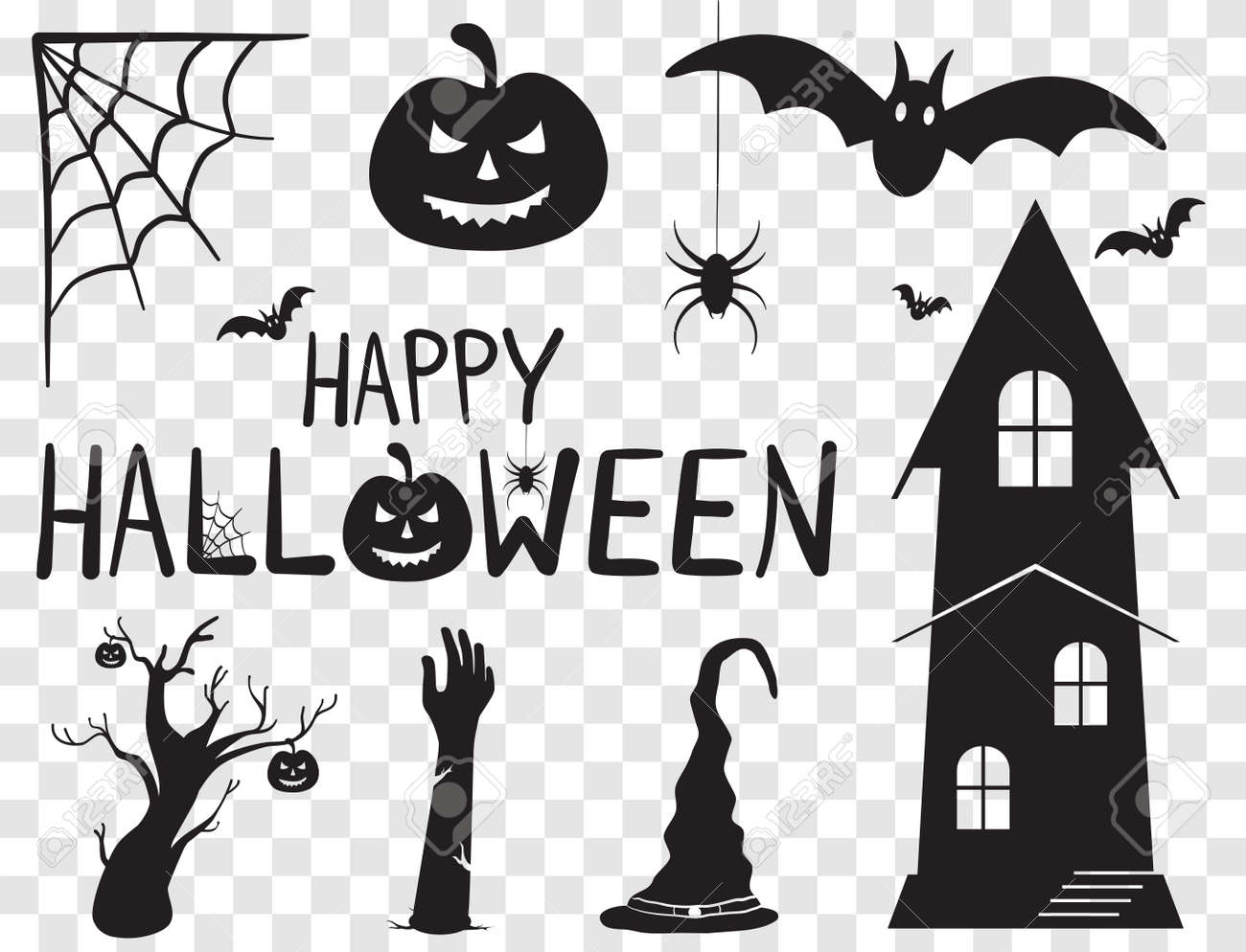 Happy Halloween Text Banner and Silhouette Horror Characters. Vector Illustration Set With Transparent Background - 156370536