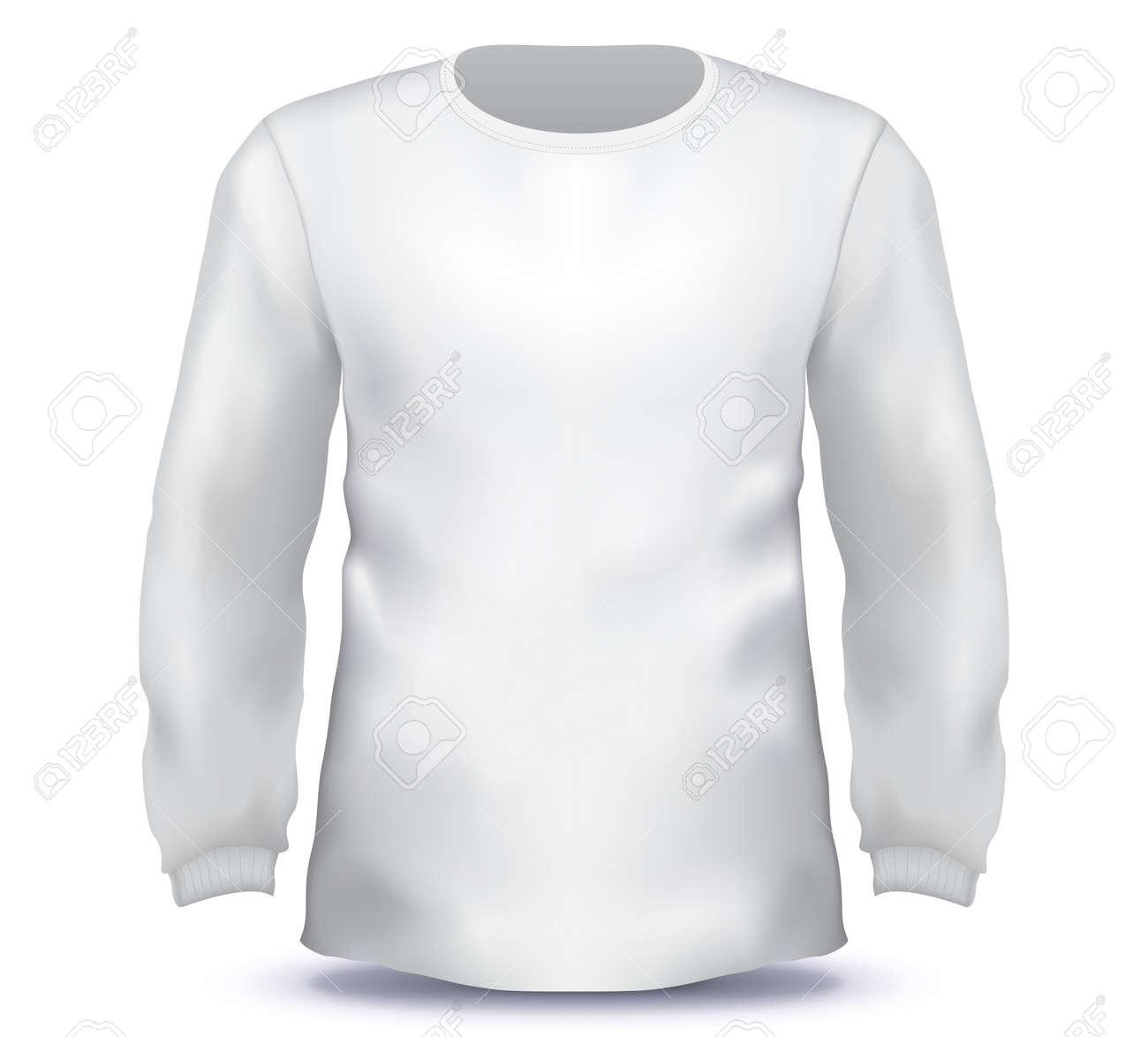 White Male long sleeve shirt vector template. - 159376525