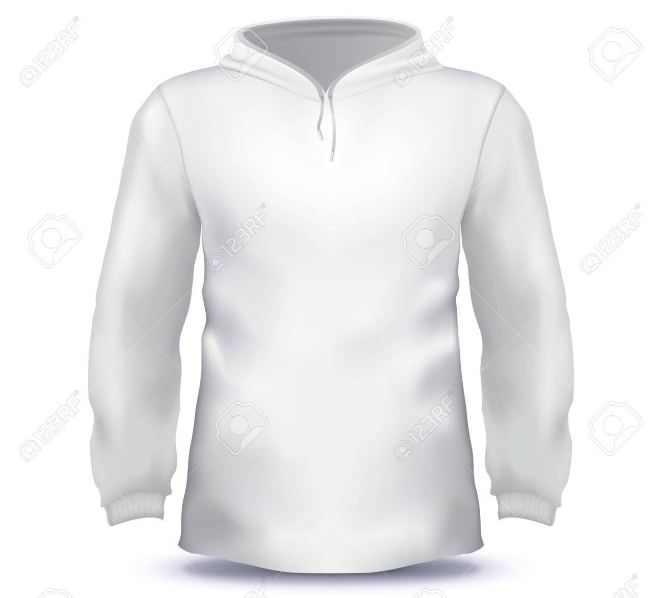 White Male Hoodie sweatshirt vector template. - 159376527