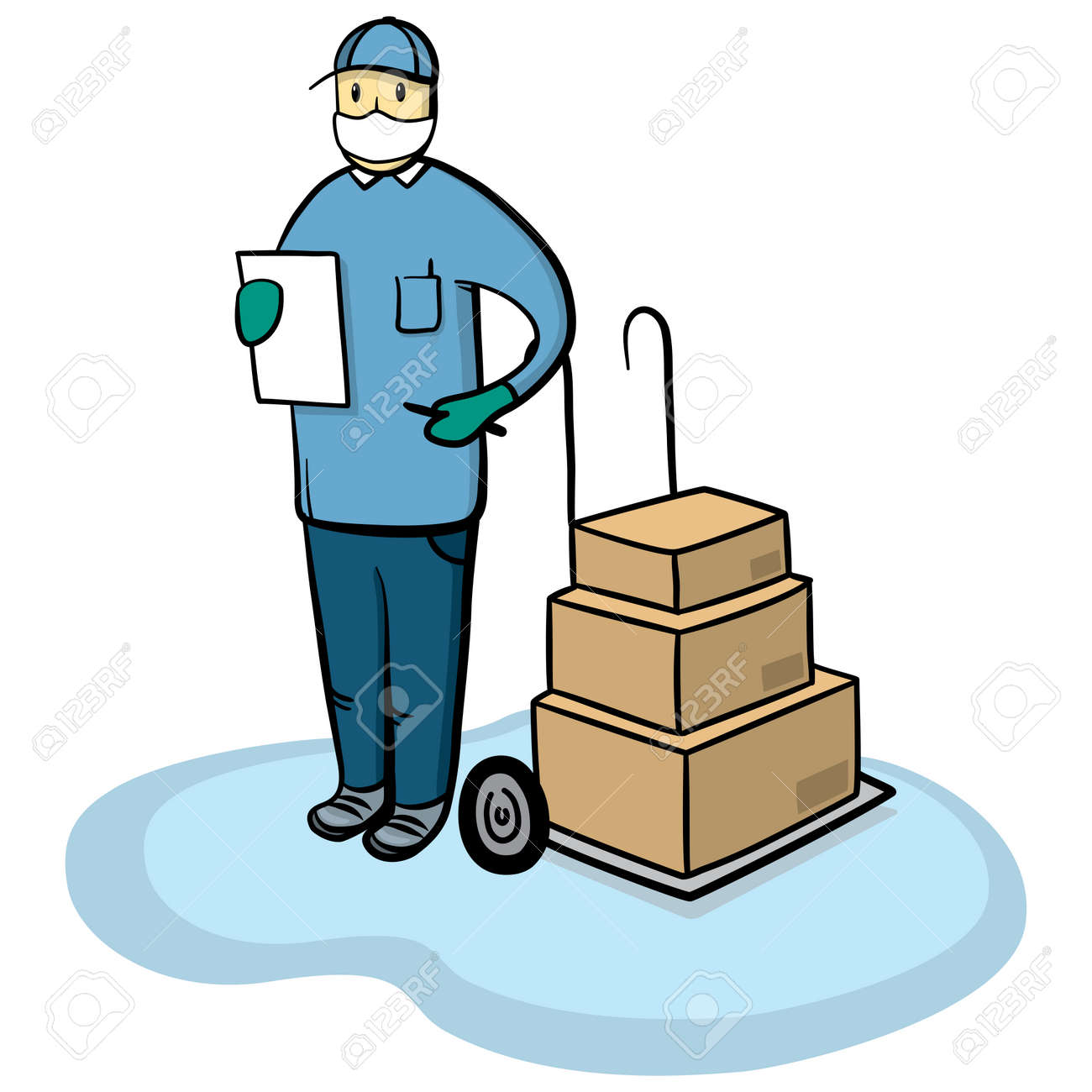 Delivery courier man with medical protective mask and gloves. Safe cargo delivery during coronavirus pandemic concept vector illustration. - 160685410