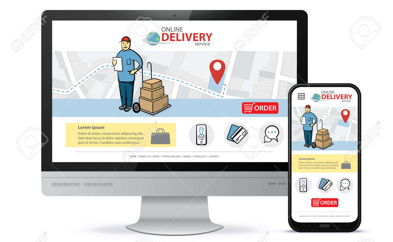 Online delivery service vector UI on Smartphone and Computer screen. Vertical and horizontal responsive design template for online shooping app and mobile website. - 160685411