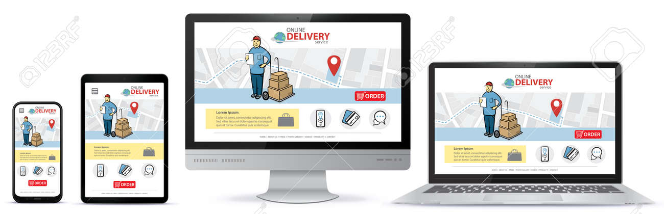 Responsive design template for online shopping app and mobile website. Online delivery service vector UI on Smart Phone, Tablet PC, Computer Monitor and Laptop Computer - 161047479