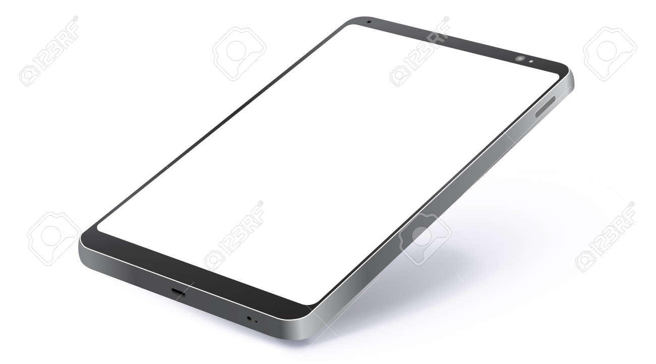 Black Tablet Computer Realistic Vector Mockup With Perspective View. Tablet PC Screen Isolated on White Background. - 163633128