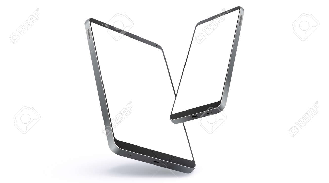 Mobile Phone and Tablet Computer Realistic Vector Mockup With Perspective View. Digital Devices Screen Isolated on White Background. - 164458130