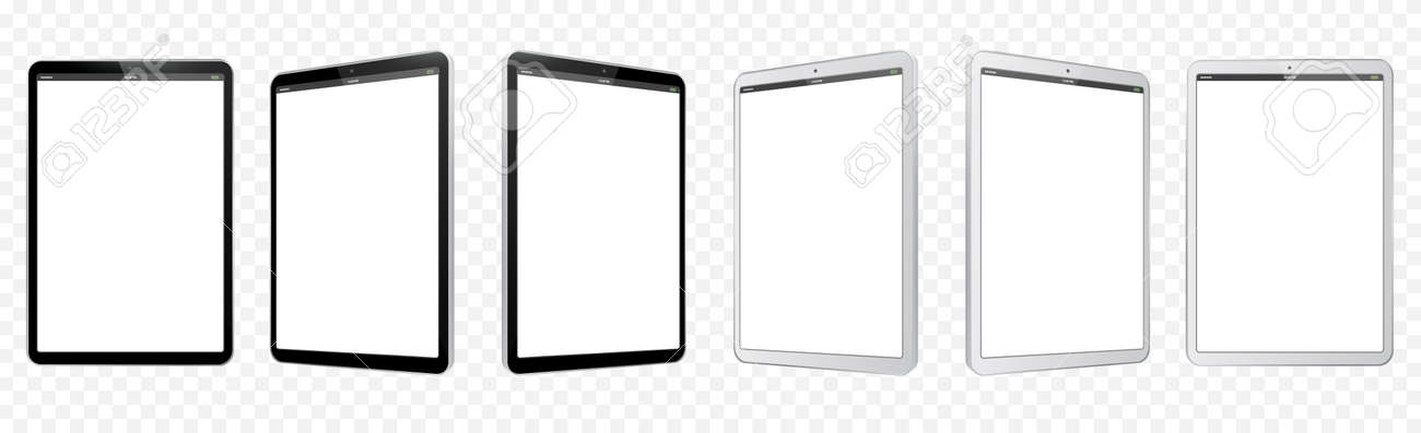 Black and White Tablet Computer Vector Illustration Mockup. Perspective view of Tablet PC With blank screen and transparent background. - 165910782