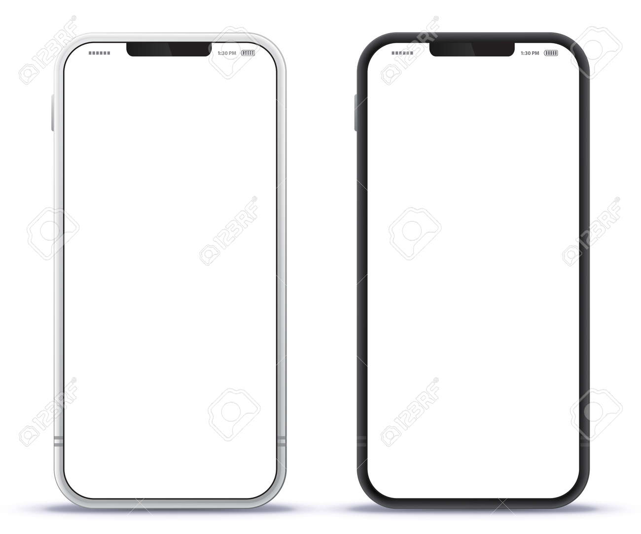 Mobile Phone Black and Silver Colored Design Concept. Vector Smartphone Mockup With Frameless White Screen. Isolated on Transparent Background. - 166388833