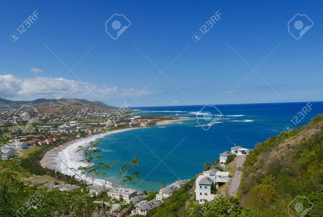 Frigate Bay, St Kitts, West Indies A view overlooking the scenic Frigate Bay in St. Kitts, West Indies - 77879745