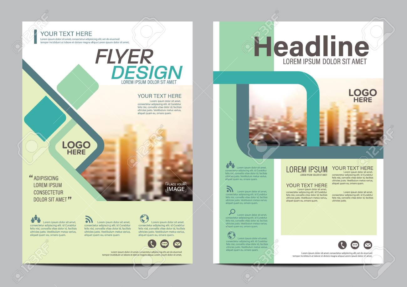 green brochure layout design template annual report flyer leaflet cover presentation modern background illustration