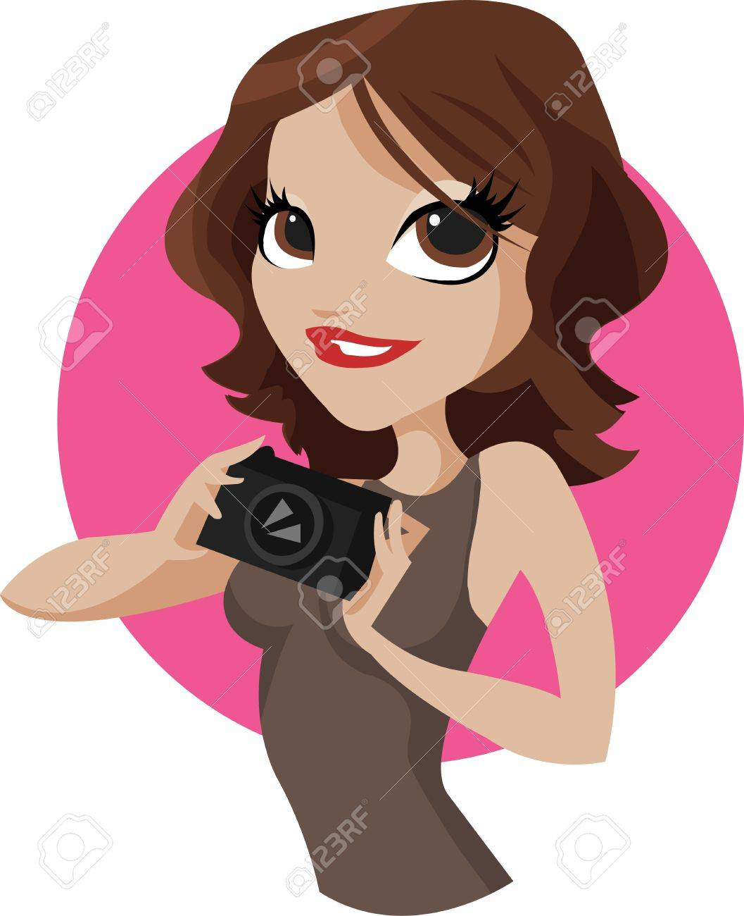 Lady Photo. Beautiful young woman photographer holding a camera Stock Vector - 10940935