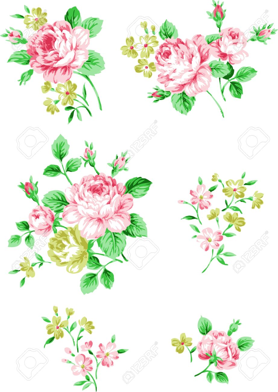 Floral background. Set of branches of pink roses. Flower design elements. Stock Vector - 10936497