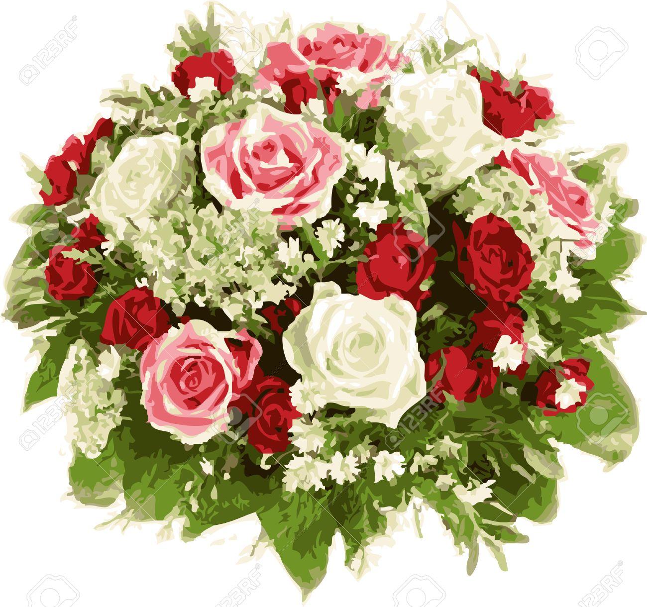 Favori Bouquet Di Fiori Di Nozze. Rose Rosse E Bianche. Clipart Royalty  UK82