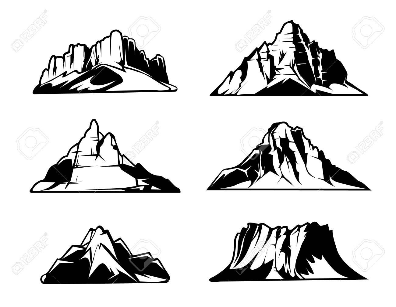 白黒山はベクトル シルエットです雪に覆われた山脈屋外デザイン要素セット
