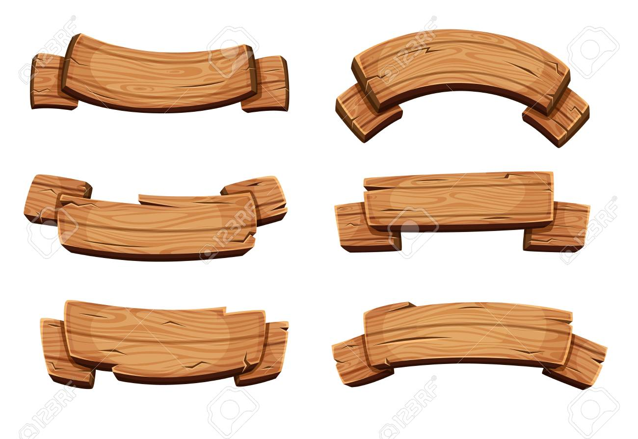 cartoon brown wooden plate and ribbons vector set isolate on rh 123rf com vector wood background vector wood grain