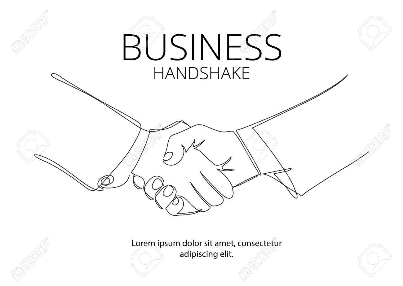 Handshake continuous line vector drawing. Business agreement vector concept - 77006917