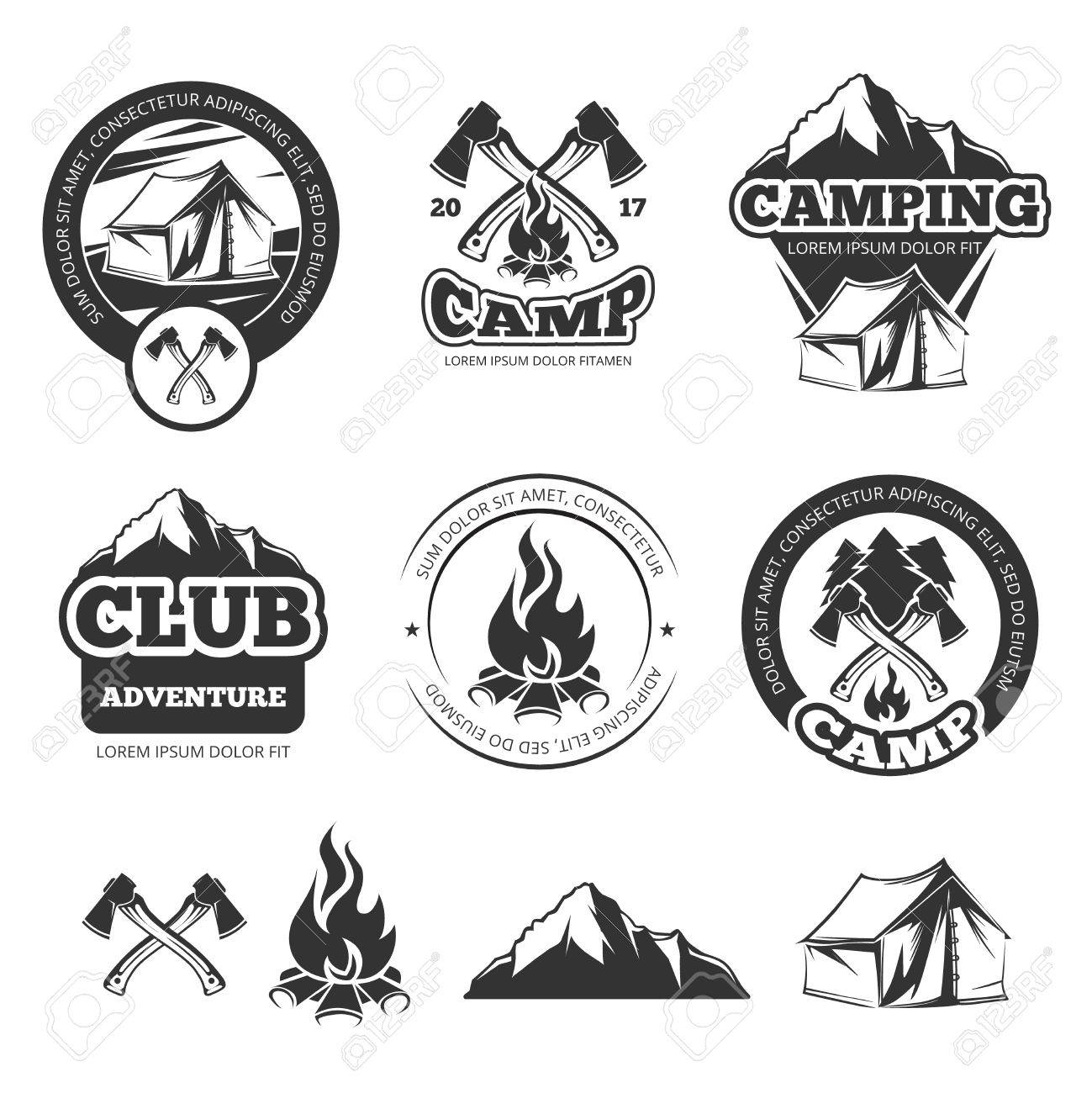 Nature Vintage Labels Set For Scout Camp Camping Badges With Tourist Tent Adventure Vector