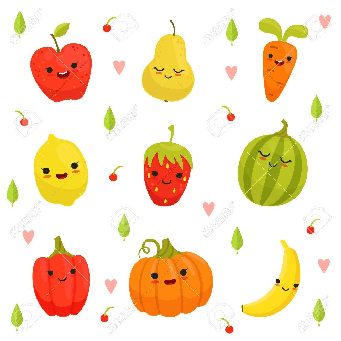 Vector Diseño De Mascota De Dibujos Animados Frutas Y Verduras