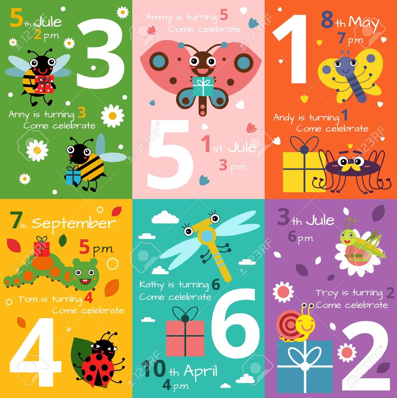 Tarjetas De Invitación Para El Cumpleaños De Los Niños Con Ilustraciones De Insectos Divertidos Y Errores Imágenes De Vectores