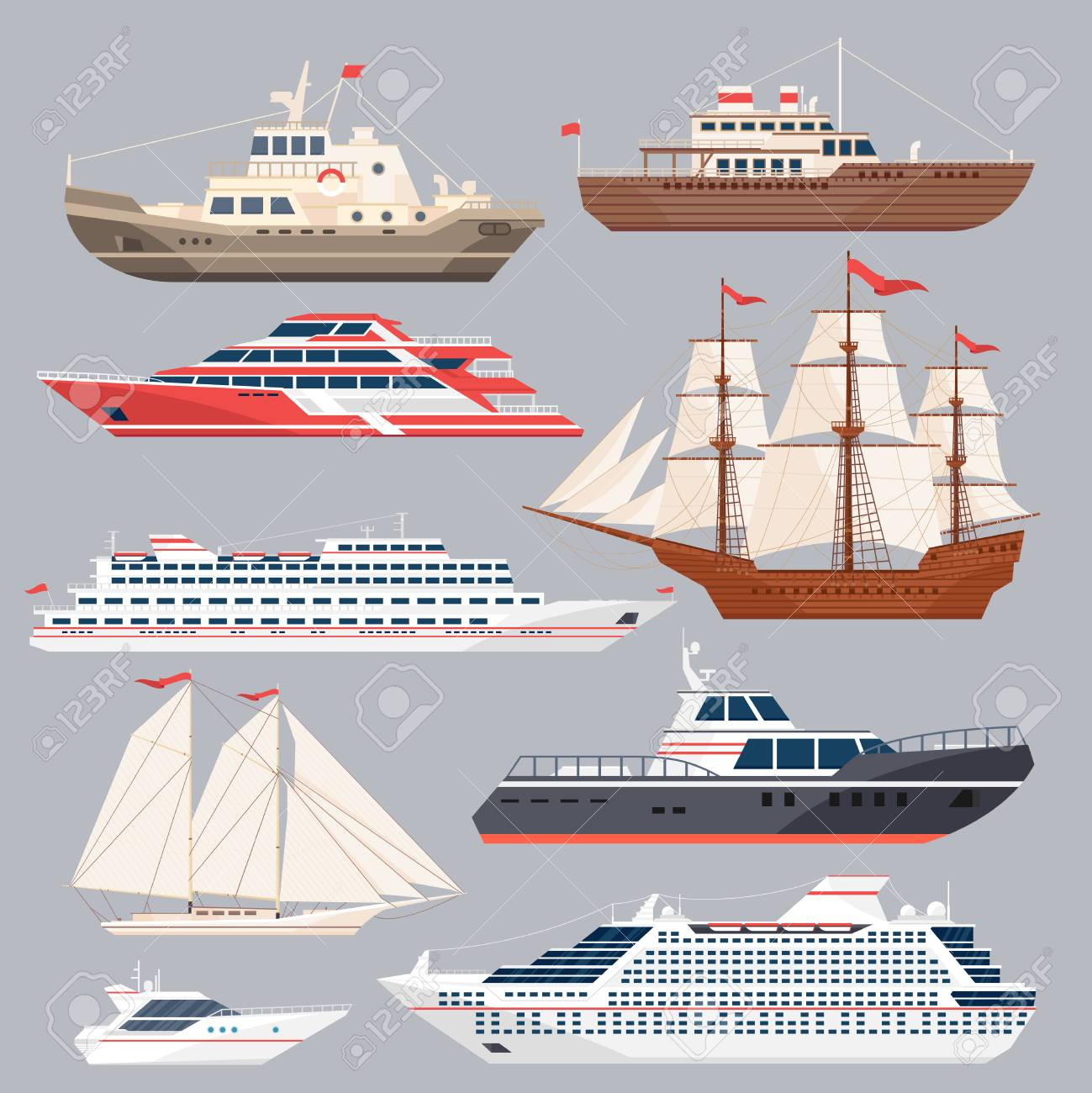 set of different vessels sea boats and other big ships vector
