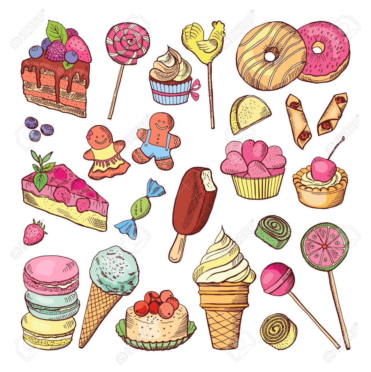 Postres De Boda Pastelitos Dulces Y Estilo Dibujado A Mano De Helado Colección De Vectores De Doodle Para Colorear
