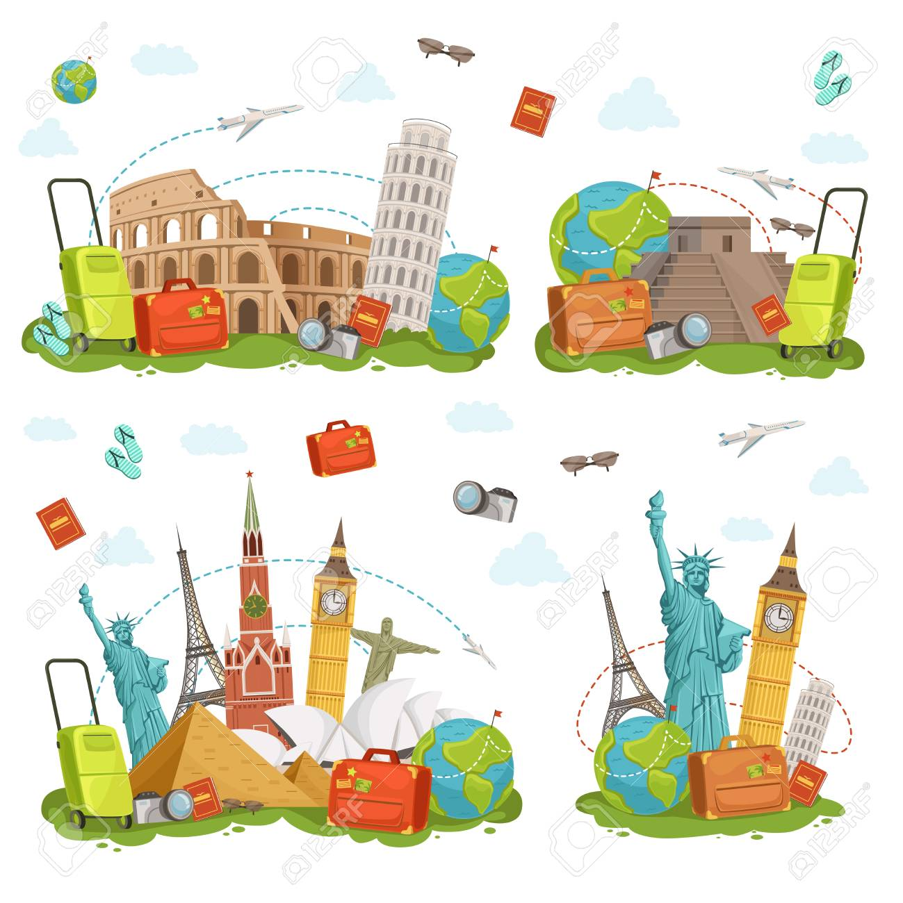 Travel icons and different landmarks. Famous world places isolate on white. Vector illustrations set - 81730904