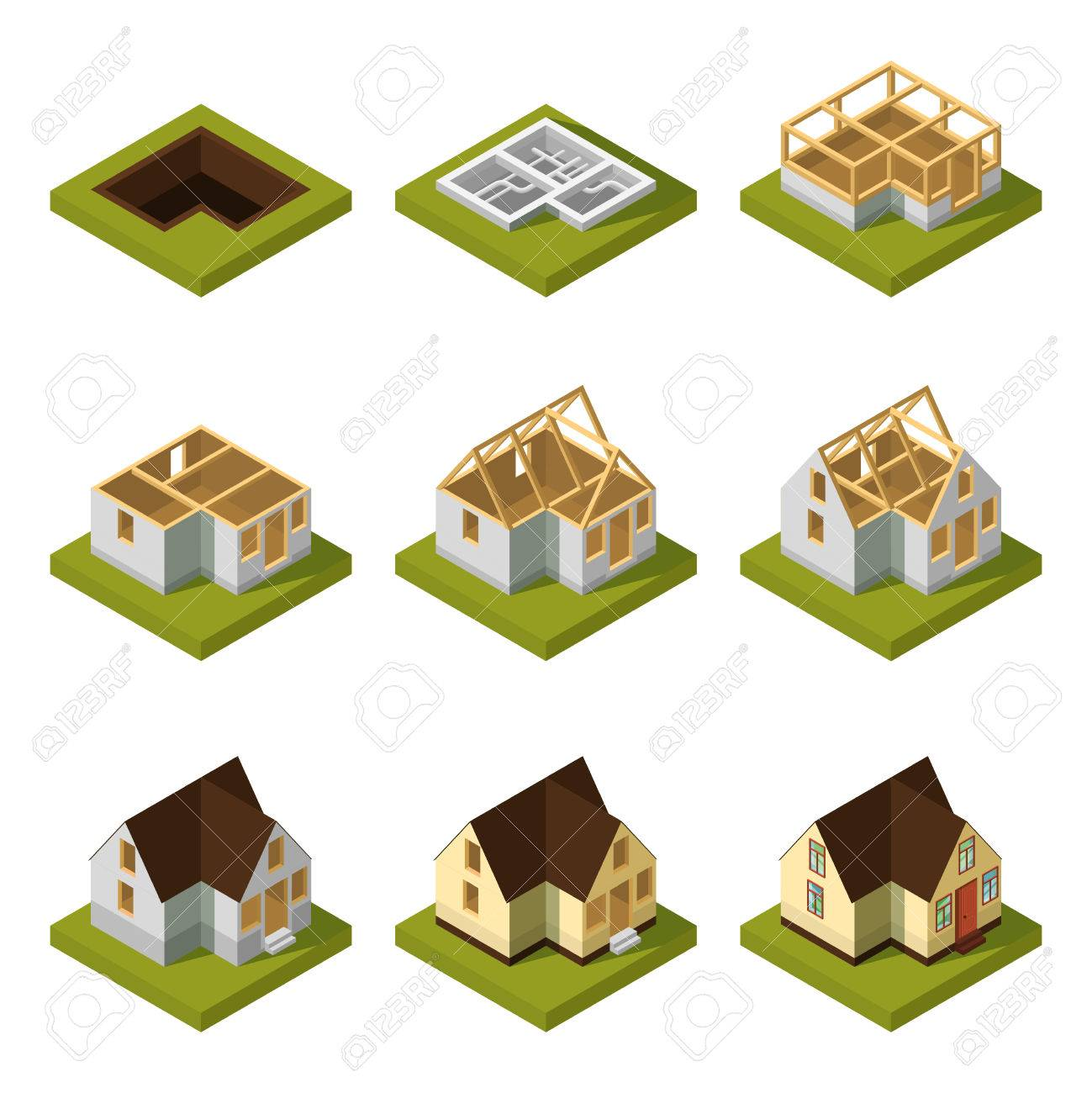 Delightful Vector   Visualization Of Modern Building On Different Construction Stages.  Isometric Construction Urban Building House Vector Illustration
