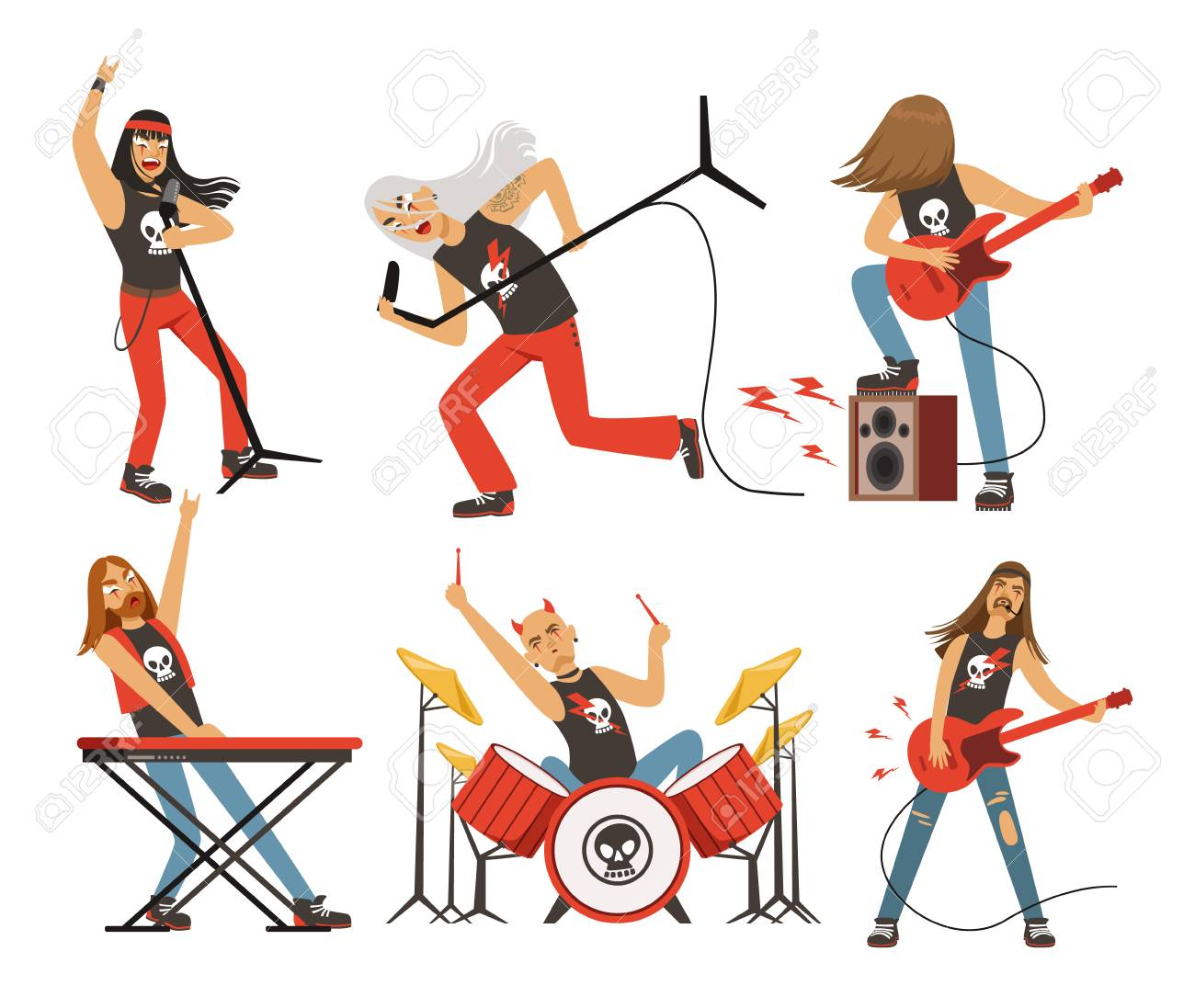 Funny Cartoon Characters In Rock Band Musician Famous Pop Group Vector Mascot Set